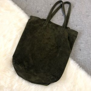 Baggu basic leather tote olive green suede bag